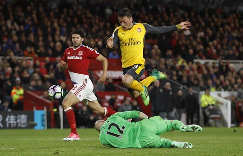 Arsenal nhọc nhằn thắng Middlesbrough