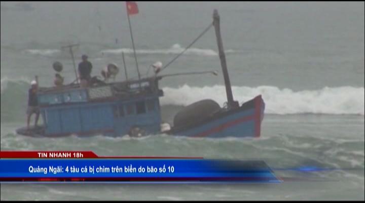 4 tàu cá bị chìm trên biển do bão số 10