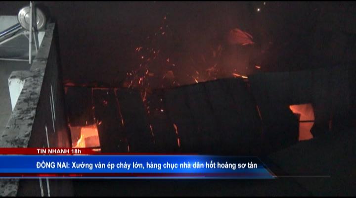 Xưởng ván ép cháy lớn, dân hốt hoảng sơ tán