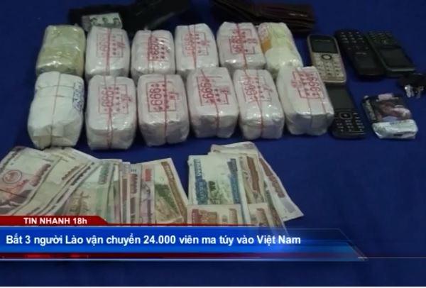 Bắt 3 người Lào vận chuyển 24.000 viên ma túy