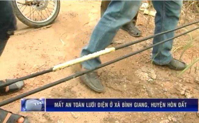Mất an toàn lưới điện ở xã Bình Giang, Hòn Đất