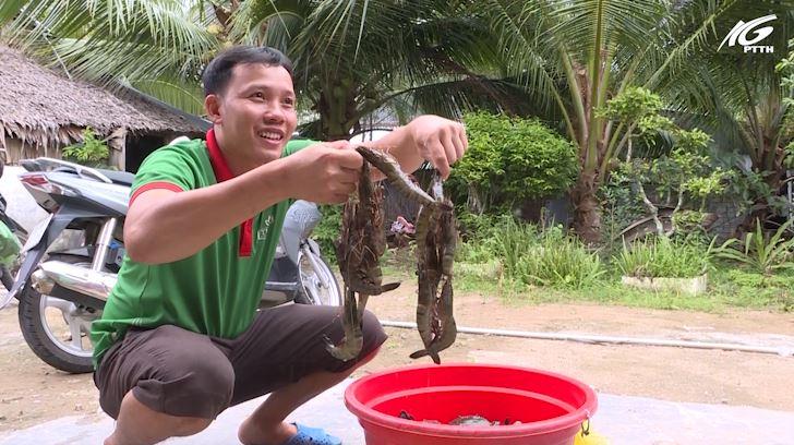 Huyện An Minh: Mô hình nuôi tôm cua ứng dụng chế phẩm sinh học để xử lý nước
